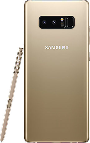 Angled back view of Note8 in Gold