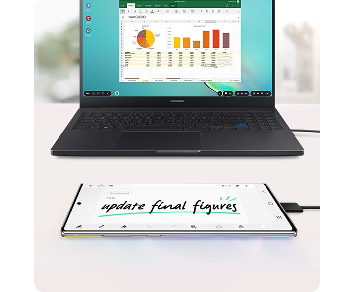 A Samsung laptop with a spreadsheet and graphs onscreen and Galaxy Note10+ connected via USB cable with Screen off memo onscreen.