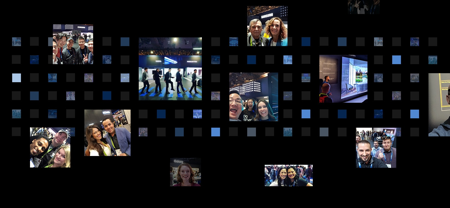"12 social media post photographs are displayed in front of a digital cube background from the ""Samsung City"" theme at CES 2019."