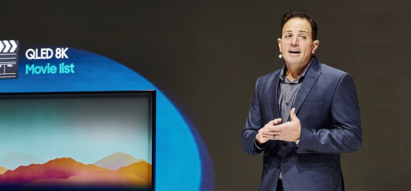 At the Connected Solution zone of the Samsung booth at CES 2019, visitors can attend the connected living presentation and get more information about Samsung's voice assistant Bixby. (The man is a speaker at the connected living presentation)