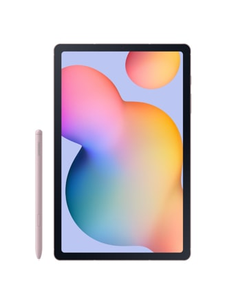A black Galaxy Tab S6 Lite with a multi-coloured wallpaper on-screen. A pink S Pen stands to the left of it.