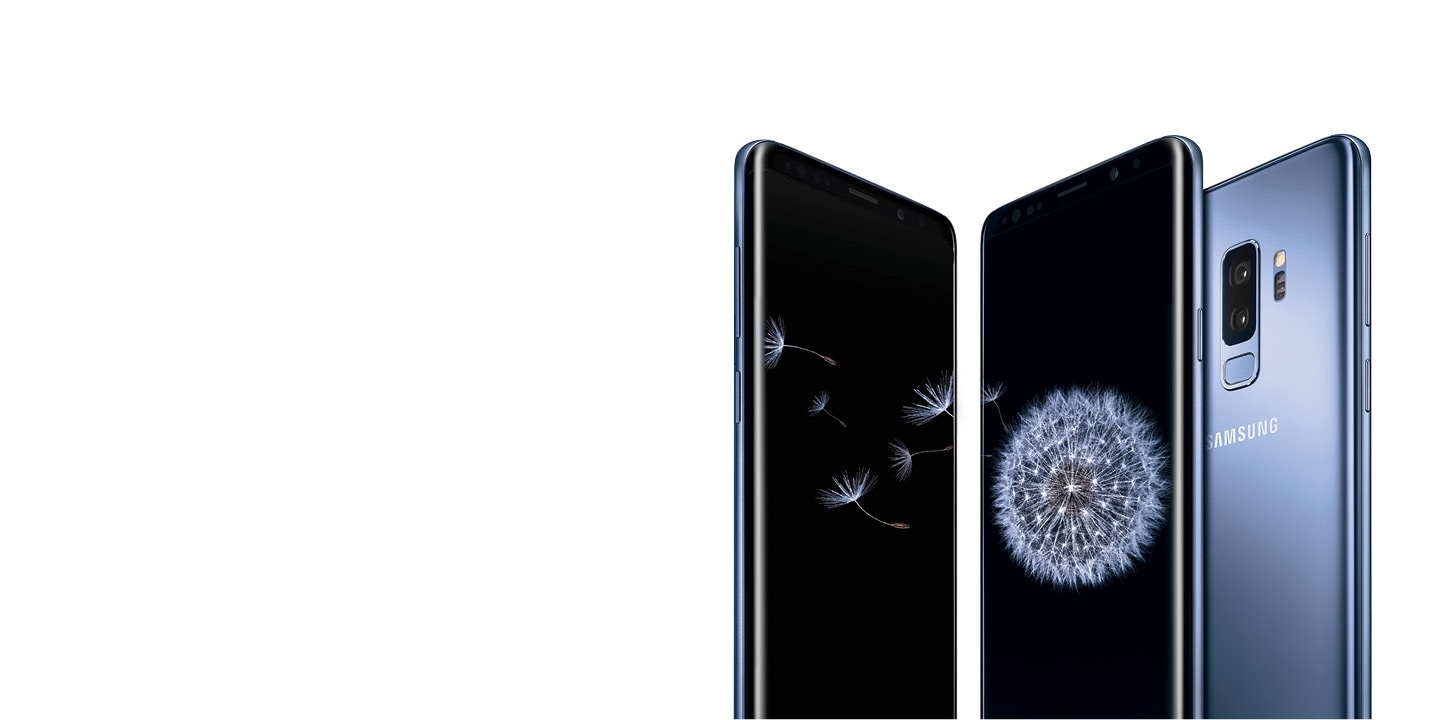 Galaxy S9+ seen from the front and the rear in coral blue.