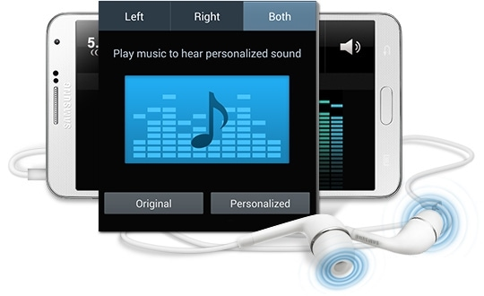 This is the image about pop-up of 'Adapt Sound setting up screen' came on the Smartphone screen connected to the earphone.
