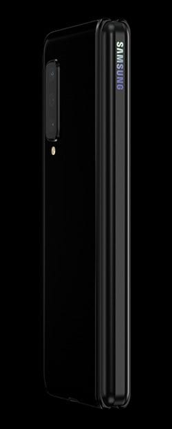 Galaxy Fold in Cosmos Black with Black Hinge, folded and seen from the back