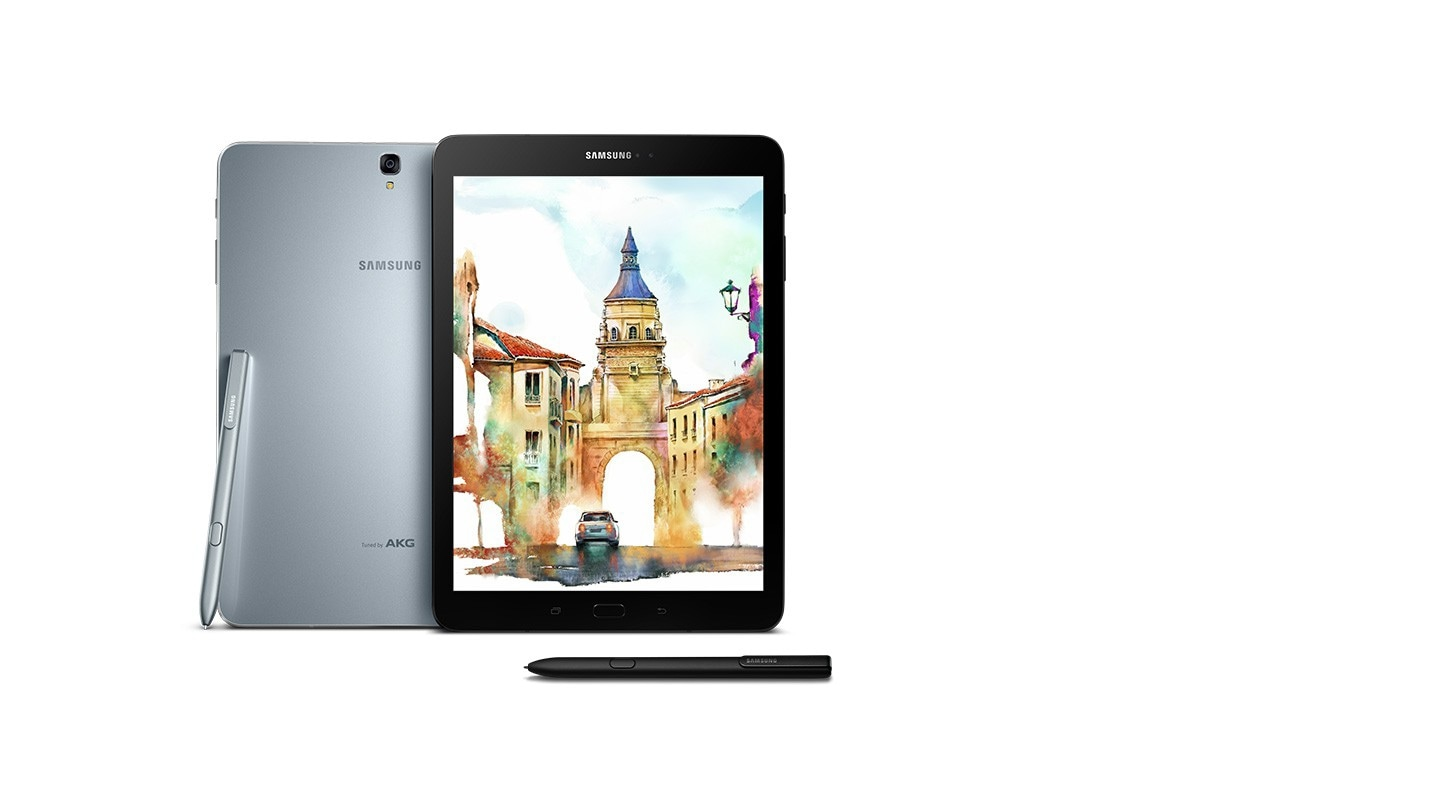 A Galaxy Tab S3 facing forward with a Galaxy Tab S3 faced backwards with S Pen leaning against it