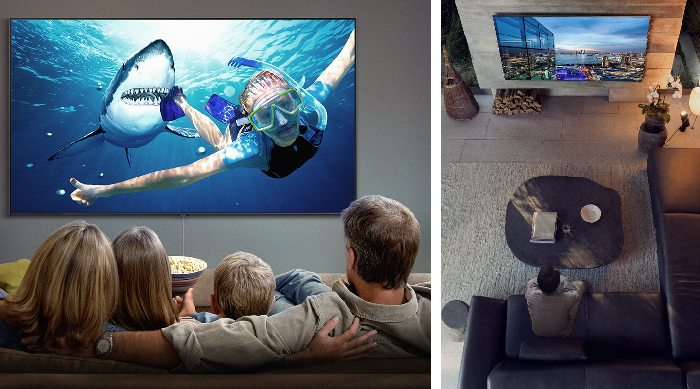 On the left, a family of 4 is watching a movie with a woman snorkeling and a shark following behind her on their Super Big TV while on the right, a man is sitting in a grey-toned living room watching a night cityscape on his Super Big TV.