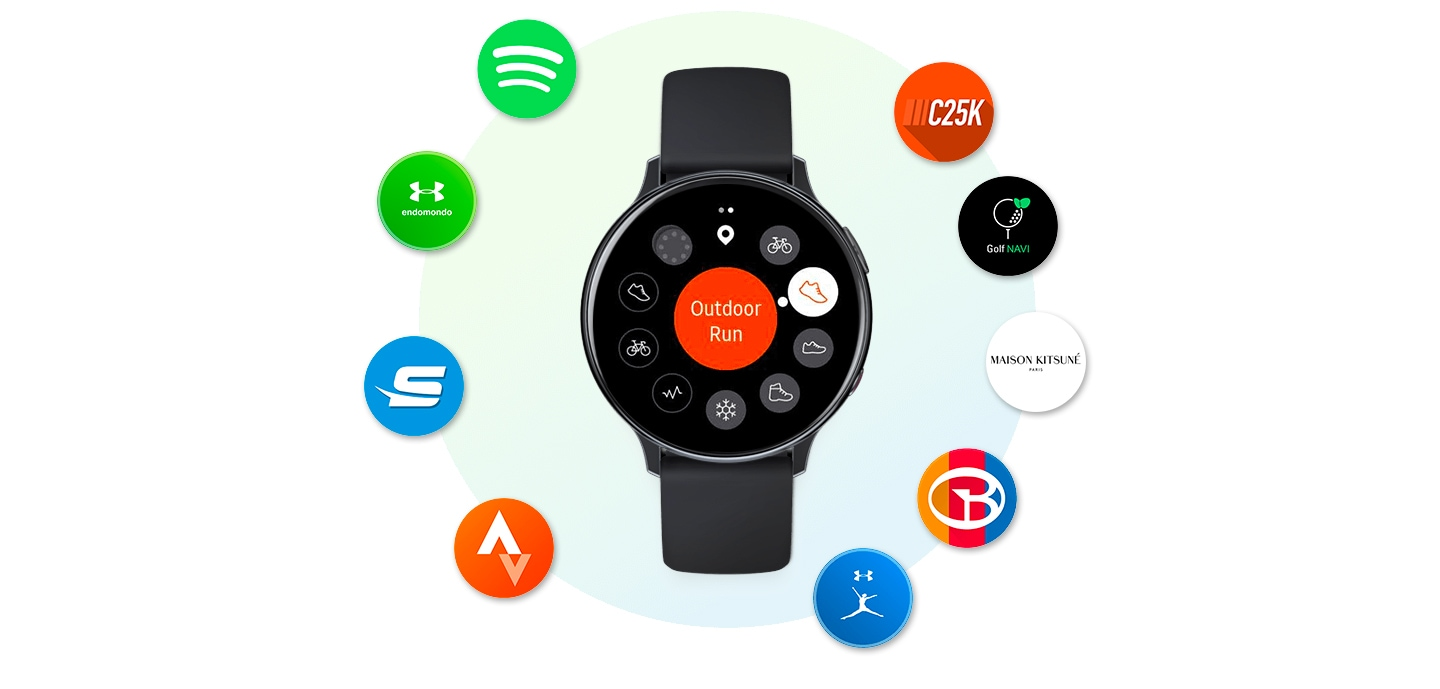 Galaxy Watch Active2 noire vue de face, entourée par les icônes de plusieurs applications de montre connectée : Spotify, Endomondo, Swim.com, Strava, C25K, Golf Navi Pro, Maison Kitsune, Smart Caddie et MyFitnessPal