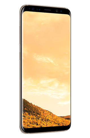 Angled left view of Galaxy S8 in Maple Gold