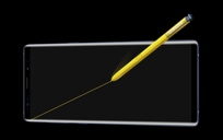 Galaxy Note9 shown horizontally with a yellow Note pen drawing a diagonal line across the screen