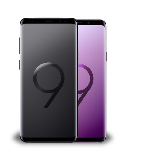 Front rear view of two Galaxy S9 devices in black and lilac purple