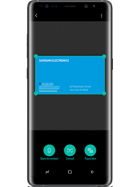 A business card in the Bixby Vision app on the Galaxy Note8