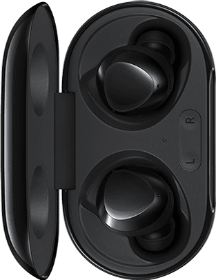 A pair of Galaxy Buds placed vertically on the left mirror a pair of white Galaxy Buds+ on the right.