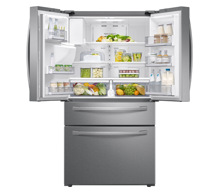 Refrigerator doors are open which there are beverage,vegetable and various food.