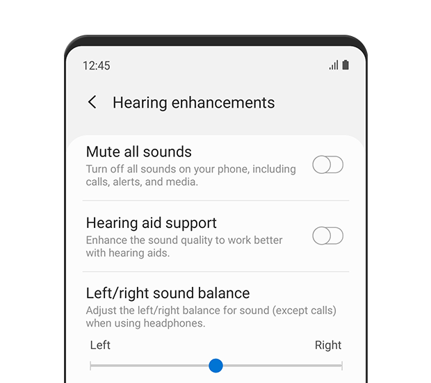 The 'Hearing enhancements' menu is displayed. The left/right sound balance slider is set to the centre. The description text reads: Adjust the left/right balance for sound (except calls) when using headphones.