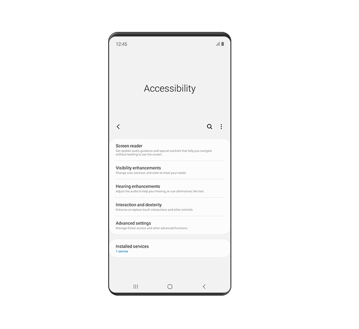 The 'Accessibility' menu is displayed. This includes options for 'Screen reader', 'Visibility enhancements', 'Hearing enhancements', 'Interaction and dexterity' and 'Advanced settings'.