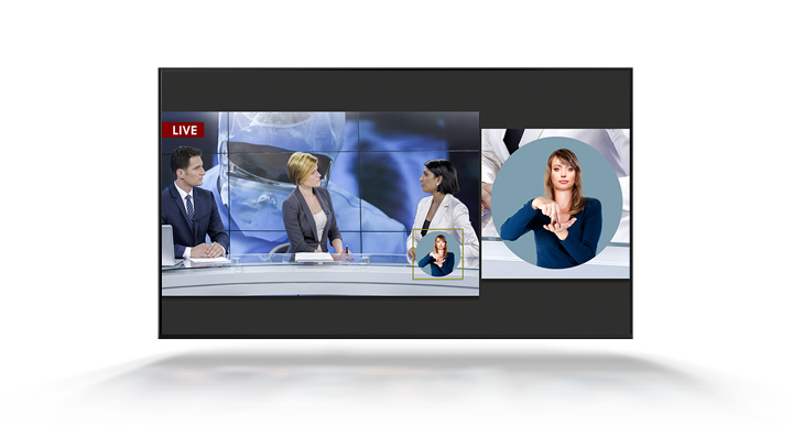 A live news broadcast is being played on a TV. The news broadcast is being translated  by a sign language interpreter. The on-screen interpreter window has been automatically enlarged so the interpreter can be seen more clearly for viewers.