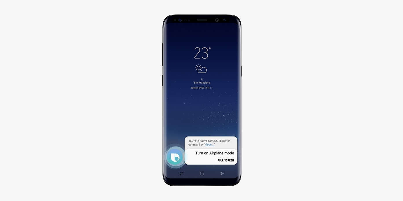 A figure of Galaxy S8 Black displaying message 'Turn on Airplane mode.' on screen.