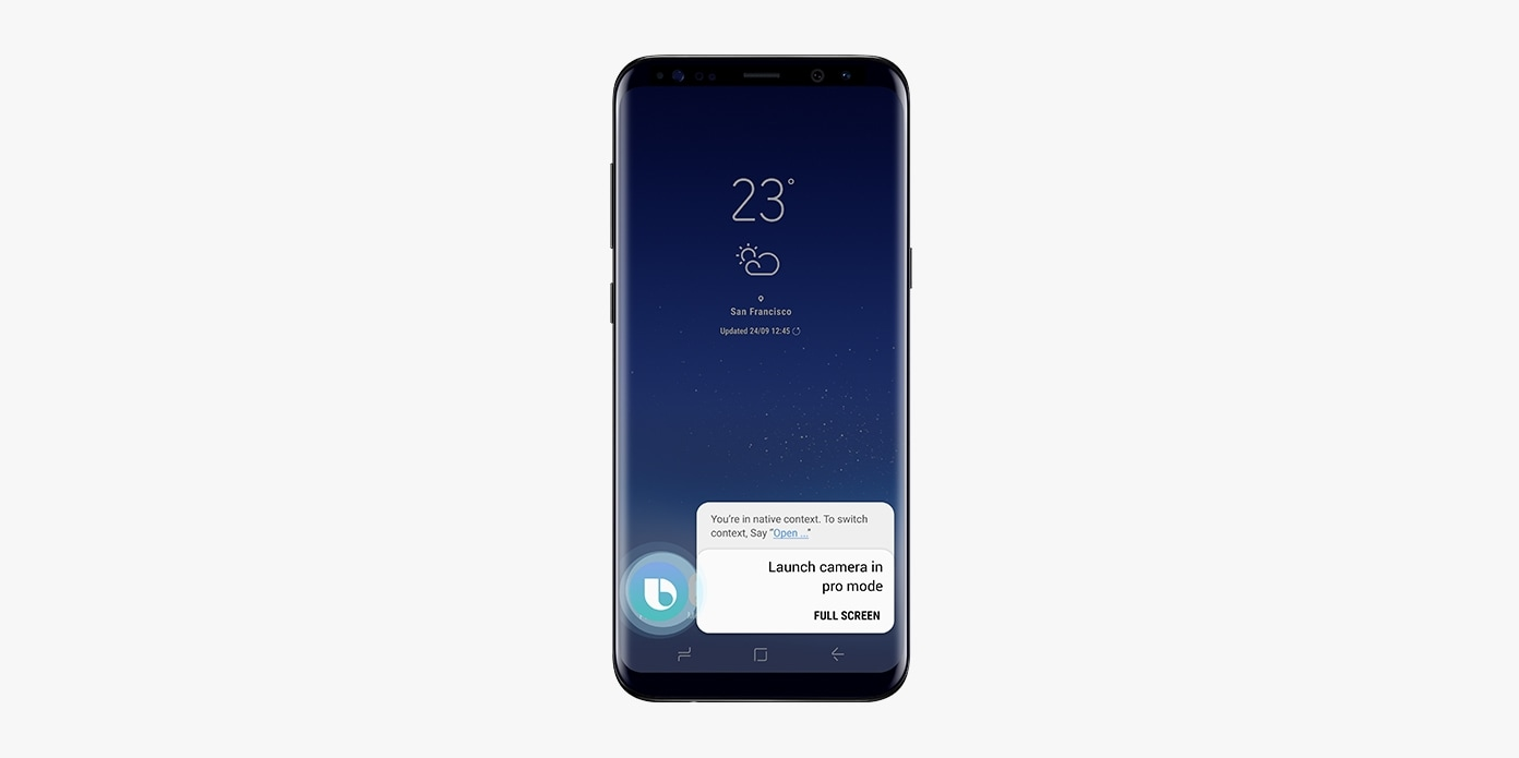 A figure of Galaxy S8 Black displaying message 'Launch camera in pro mode.' on screen.
