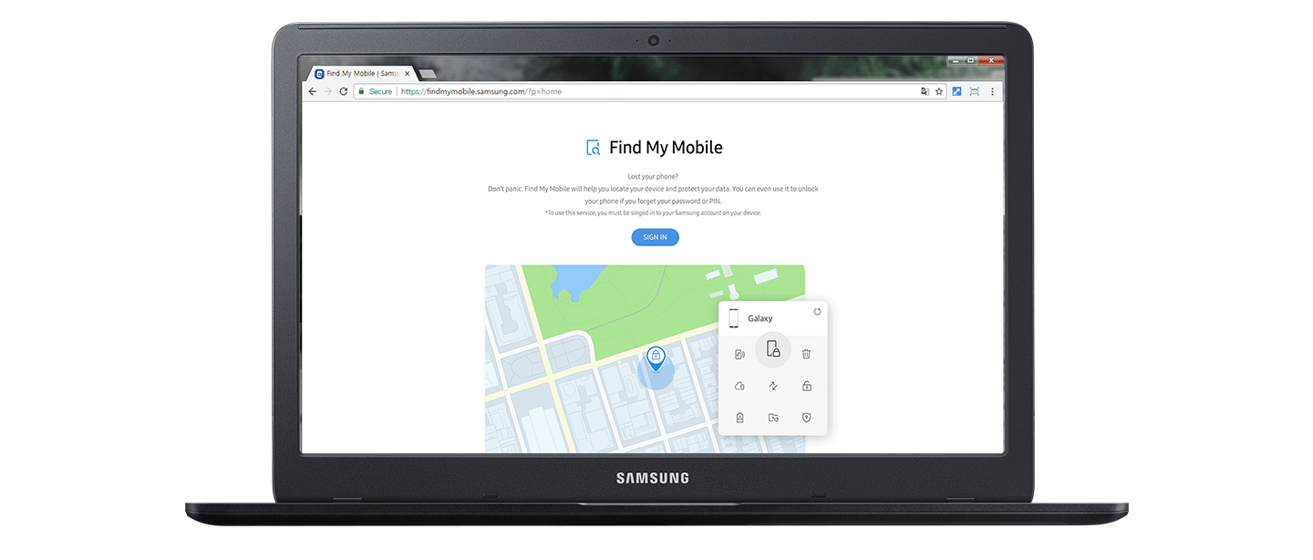 The Find My Mobile website is being accessed with a laptop.