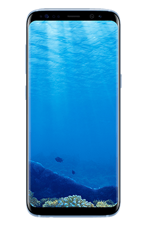 Front view of Galaxy S8 in Coral Blue