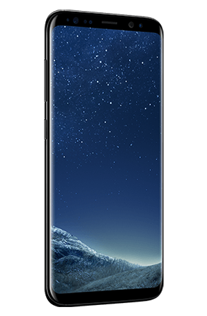 Angled left view of Galaxy S8 in Midnight Black