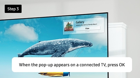 When the pop-up appears on a connected TV, press OK