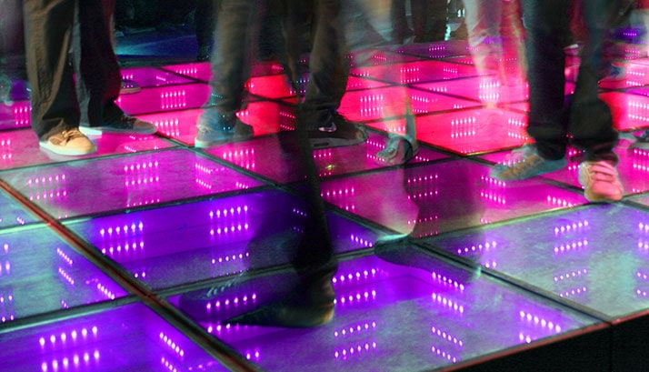 Dust off those dancing shoes and work up a sweat at the LED dance floor.