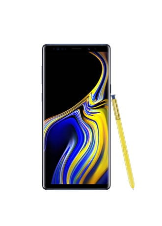 Samsung Galaxy Note9 with a yellow Note Pen leaning on the side