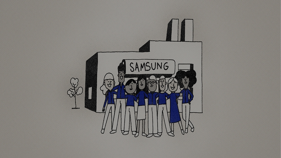 Illustration of employees in blue shirts putting arms around each other's shoulders in front of a Samsung factory.