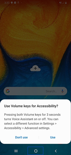 using volume keys to disable voice assistance