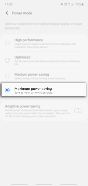 Choose your preferred Power Mode