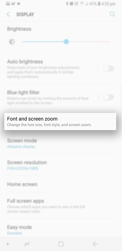 Tap on Font and screen zoom