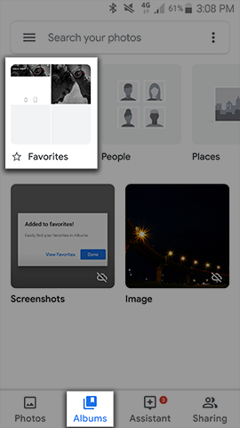 View your Favourites album in the Albums tab of the Google Photos app