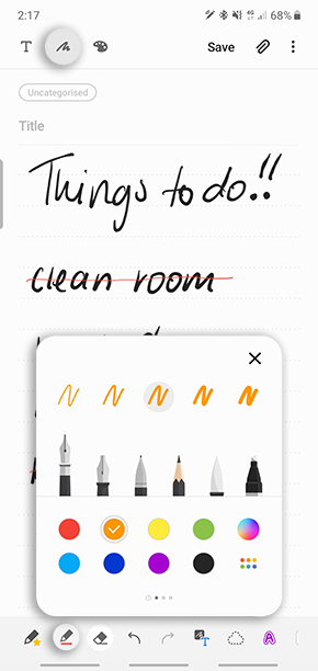 Tap on pen mode to select from a range colours and pen types