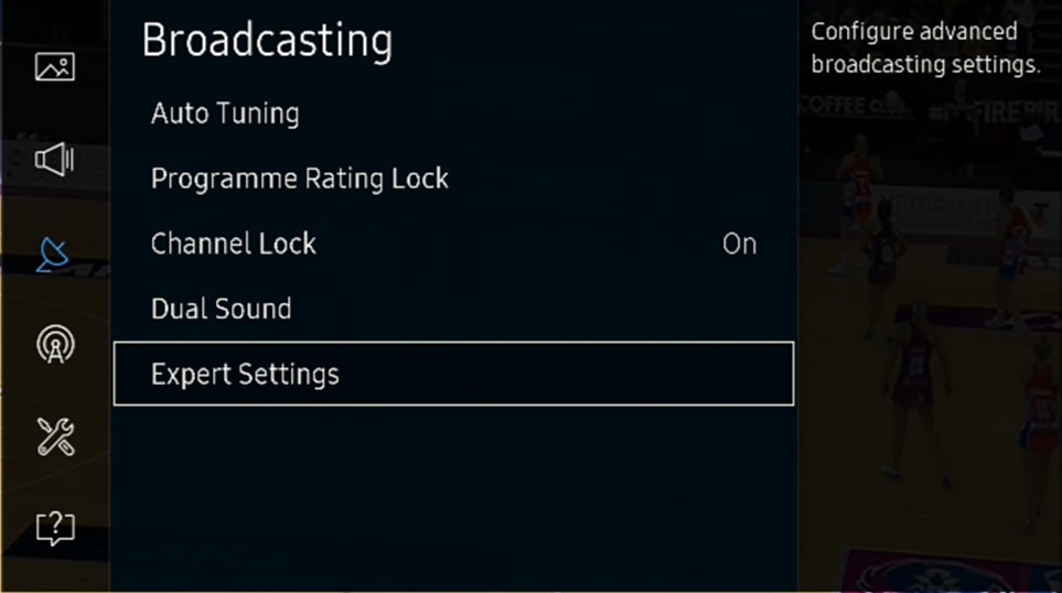 Broadcasting > Expert Settings