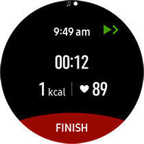 To finish exercising, tap FINISH → ✔ after pausing the exercise.