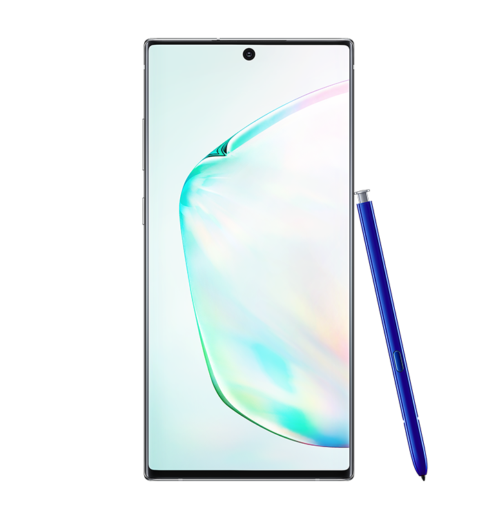 Galaxy Note10 plus 5G in Aura Glow seen from the front with a blue S Pen leaning against it and an abstract graphic onscreen.