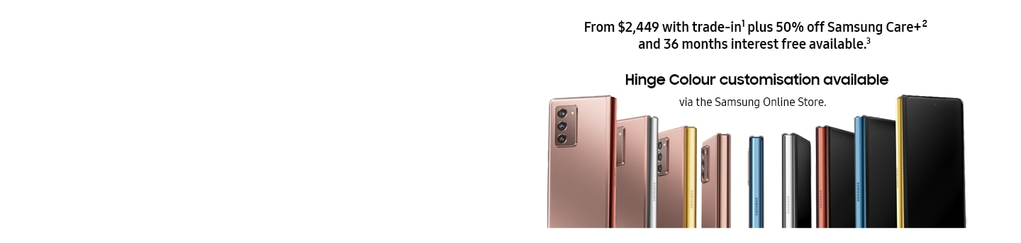 Galaxy Fold2 phones illustrating various hinge colour for Bronze and Black phone.