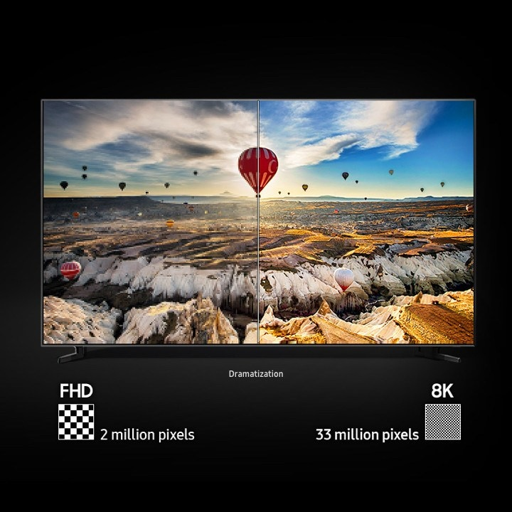 Example of QLED 8k resolution image with hot air balloons