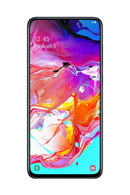 Galaxy A70 phone in Black, with an abstract purple, orange, and blue graphic onscreen.