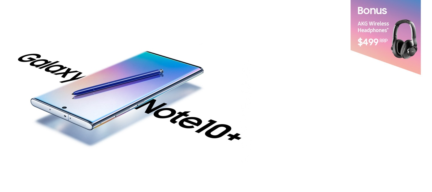 Galaxy Note10 plus 5G laying on its back at a three-quarter angle with a blue S Pen laying across its screen and a gradient graphic and text that says 5G onscreen. On either side of the phone is text saying Galaxy Note10 plus.