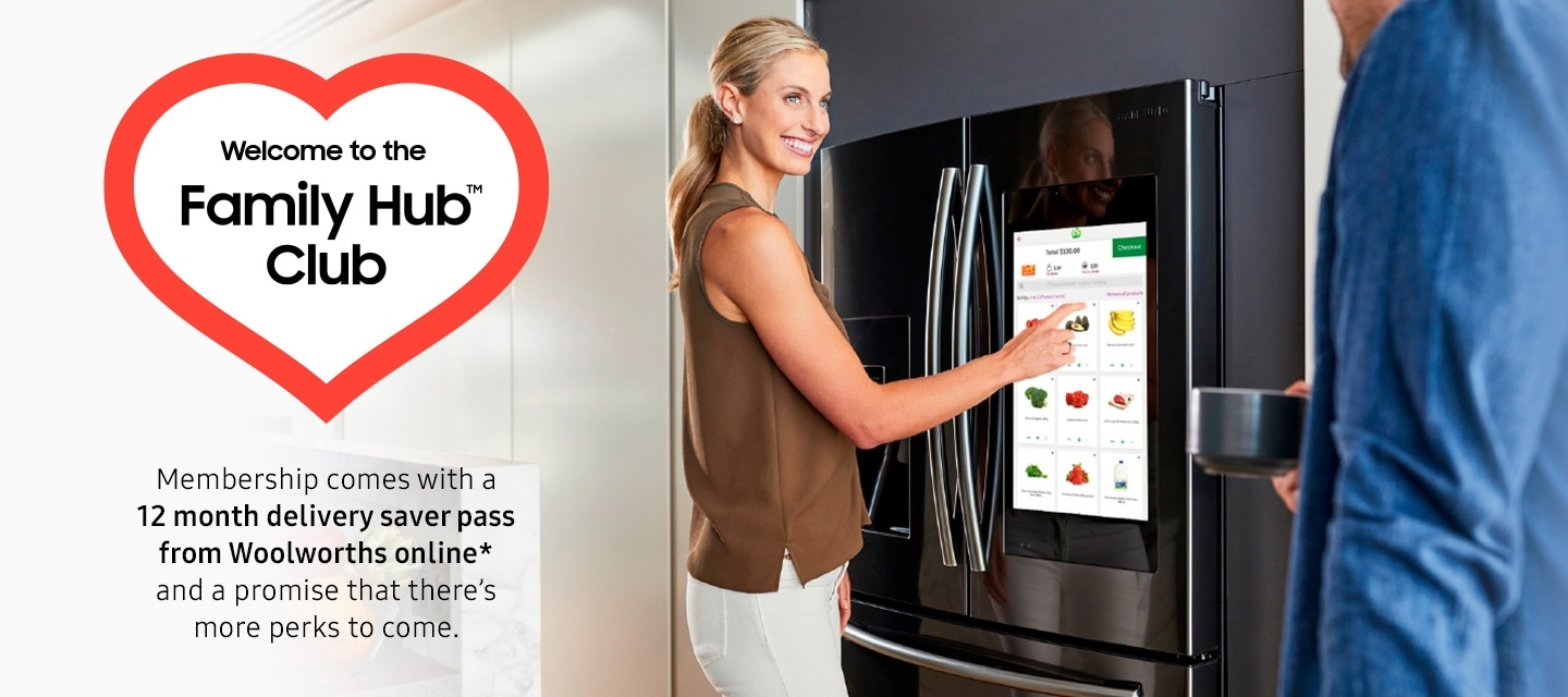 Image of lady with Samsung fridge