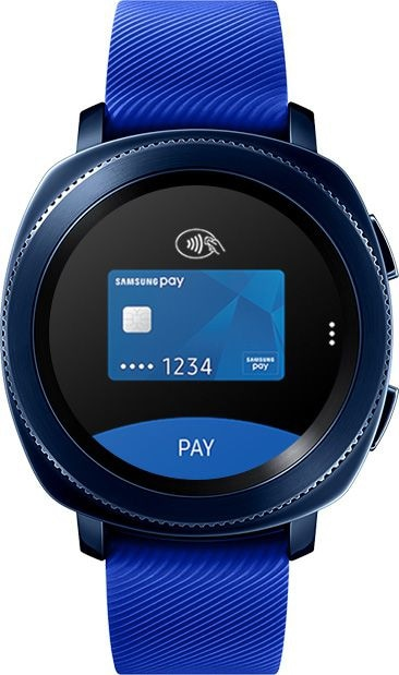 Front view of Gear Sport blue with Samsung Pay open on watch face