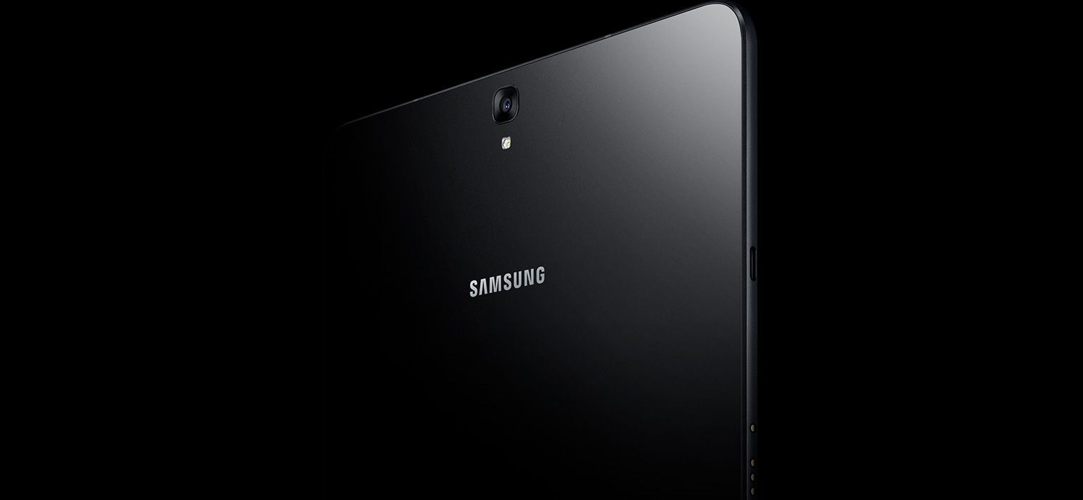 Back design of the Galaxy Tab S3 showing the glass back
