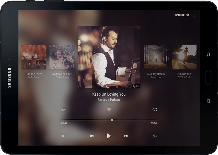 Front view of the Galaxy Tab S3 with image of music being played and illustrative depiction of music coming from the four speakers at each corner