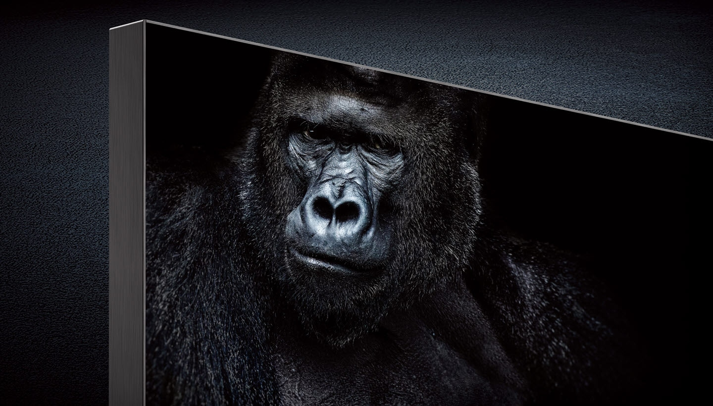 The Wall cabinet showing a gorilla image with deep black and intense contrast