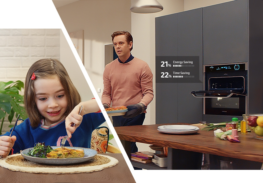 A father prepares a quick and easy dish for his daughter using Dual Cook Flex™. The daughter smiles as she eats the quiche her father has prepared for her. According to internal test results, total energy consumption is reduced by 21% and cooking time reduced by 22% when using Dual Cook Flex™.