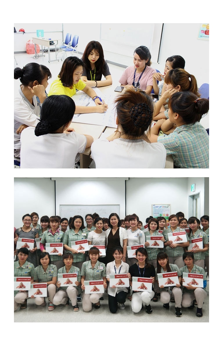 Two group photos from the Peer Educators Training.