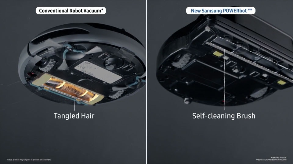 The 'Removing hair clogs' image, comparing the POWERbot VR7000 with a conventional vacuum cleaner for hair removal performance. It shows a POWERbot VR7000 device's powerful performance at sucking hair with its brush, using its Self-cleaning Brush feature. while hair is getting clogged in the other cleaner's brush.