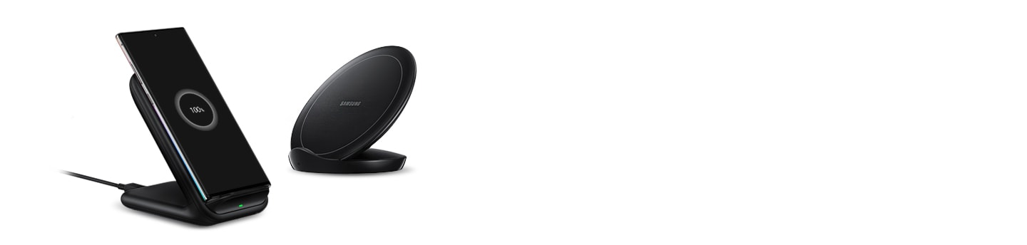 Wireless Charger Stand preto com um smartphone Galaxy carregando e um Wireless Charger Convertible preto